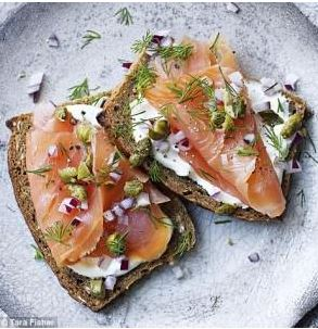 Smoked Salmon Sandwiches With Watercress and Crème Fraîche